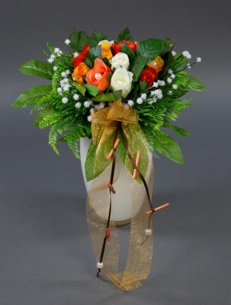Brautstrauß mit 12 Rosen in weiß-orange-rotorange AD Kunstblumen Seidenblumen künstliche Blumen