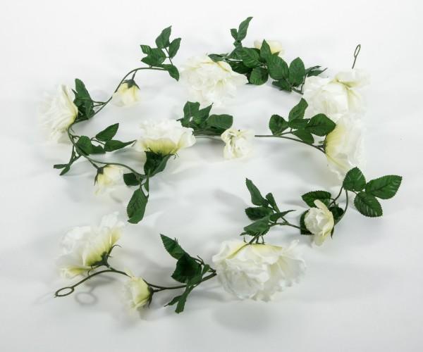 Rosengirlande 180cm weiß mit 13 Blüten GA Seidenblumen Kunstblumen künstliche Girlande Rosen