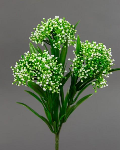Beerenbusch mit 3 Köpfen 20cm weiß CG Beerenzweig Kunstblumen Beerenpick künstliche Blumen