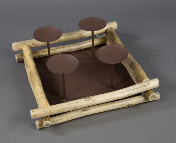 4er Kerzenhalter quadratisch aus Holz und Metall 28x28x11cm GA Adventskerzenhalter Weihnachten
