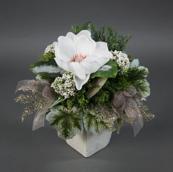 Magnolienstrauß 32x26cm weiß geeist Kunstblumen künstliche Blumen Magnolie Blumenstrauß Strauß