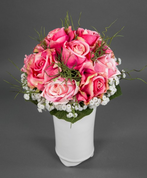 Rosenstrauß 38x30cm rosa-pink Kunstblumen künstlicher Strauß Blumenstrauß künstliche Blumen