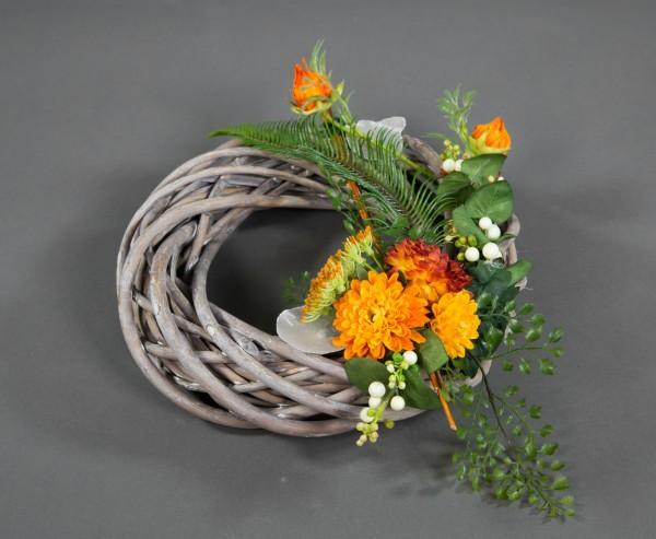 Rattankranz 25cm orange mit Chrysanthemen Kunstblumen künstliche Blumen Kunstkranz künstlicher Kranz