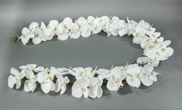 Orchideengirlande 180cm weiß mit 46 Blüten GA Kunstblumen künstliche Orchidee Orchideen Blumen