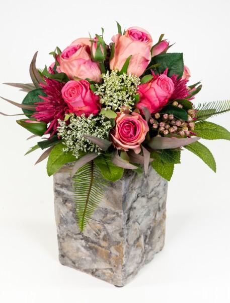 Strauß Amsterdam Exklusiv 32x28cm rosa-pink mit 16 Rosen Kunstblumen künstlicher Blumenstrauß