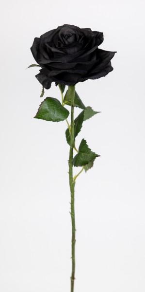 Rose 54cm schwarz CG Kunstblumen künstliche Rose Rosen Blumen Seidenblumen