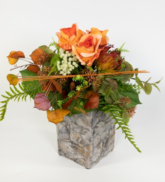 Rosenstrauß 42x34cm orange Kunstblumen Seidenblumen künstliche Blumen Blumenstrauß Strauß