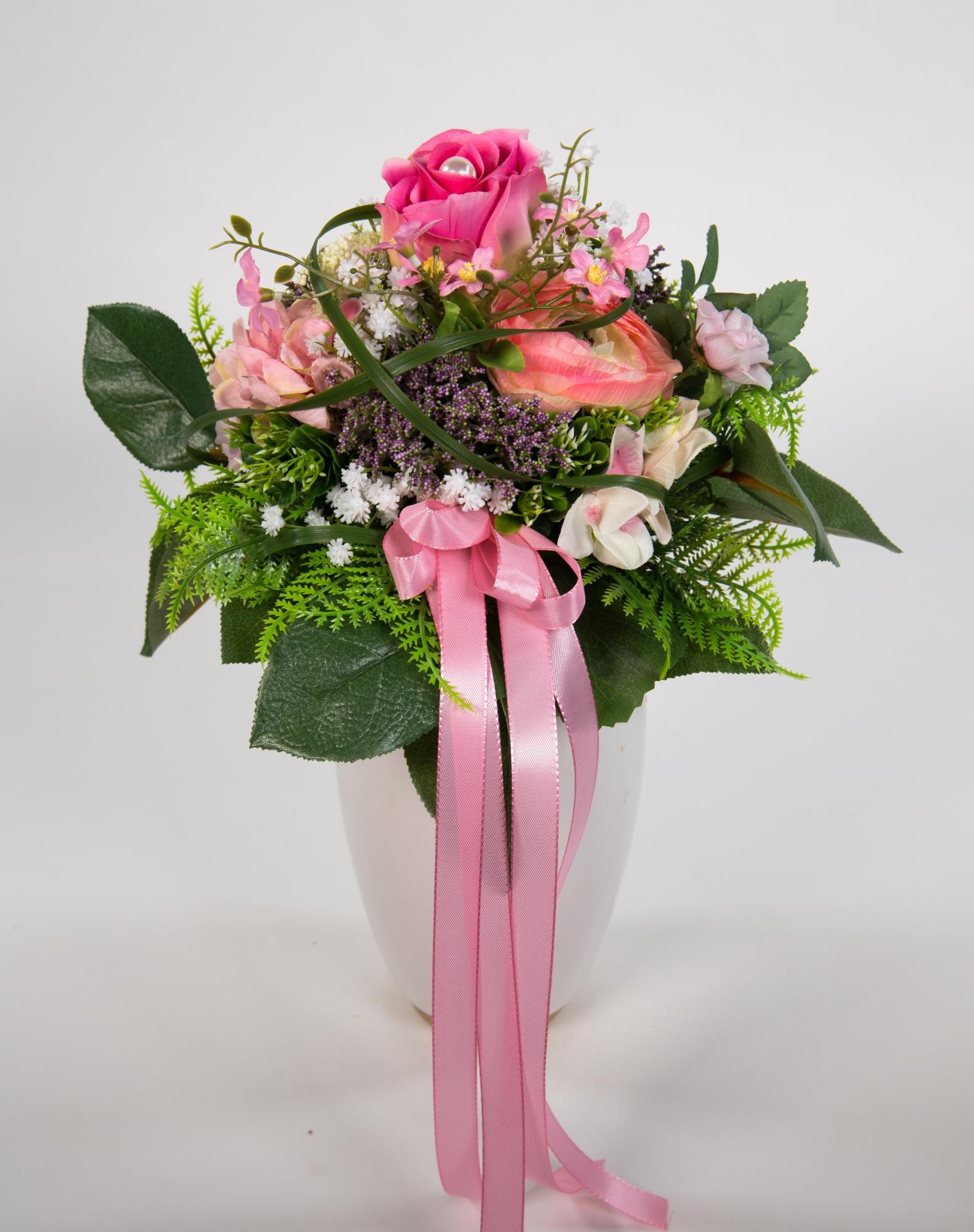 strau mit rosen und ranunkel rosa pink lila kunstblumen k nstlicher handgebundener strau. Black Bedroom Furniture Sets. Home Design Ideas