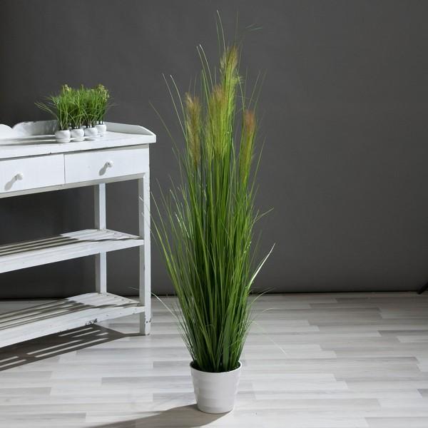 Palmengras-Busch 140cm im weißen Topf DP Kunstpflanzen Grasbusch künstliches Gras Dekogras
