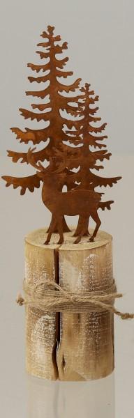 Metalllandschaft auf Holzfuß mit Bäumen und 1 Reh rost-farben DP Weihnachtsdekoration