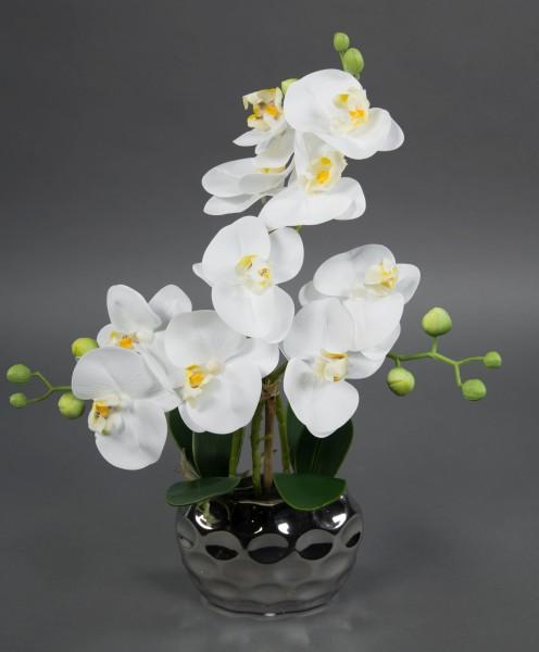 Orchidee Real Touch 36x28cm weiß in Silber-Keramikvase GA Kunstblumen künstliche Blumen