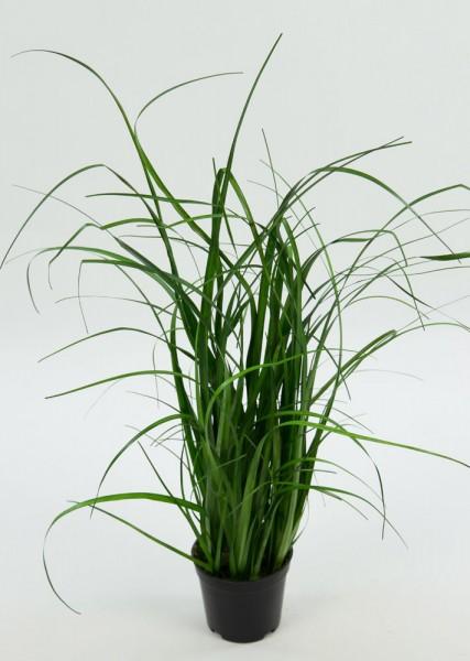 3er Dekogras-Set mit Blüten 30cm im Topf GA Kunstpflanzen Kunstgras Dekogras