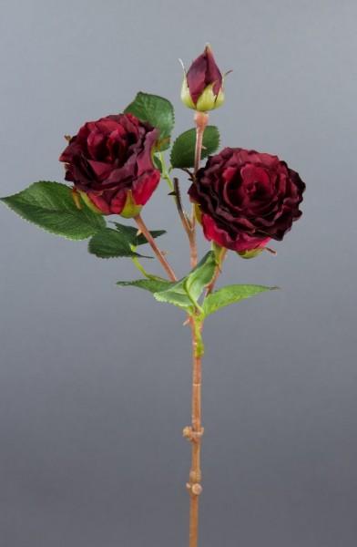 Rosenzweig 42cm dunkel-rot LM Kunstblumen Seidenblumen künstliche Blumen Rose