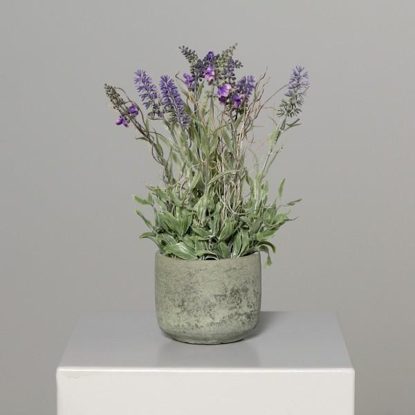 Lavendel im grauen Steintopf 36x24cm DP Kunstblumen Kunstpflanzen künstliche Blumen