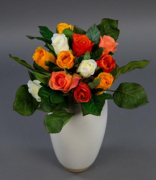 Rosenstrauß 22cm weiß-orange-rotorange-lachs AD Kunstblumen künstlicher Strauß Seidenblumen