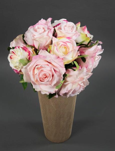 Rosenstrauß 38x30cm rosa GA Kunstblumen künstliche Rosen Blumen Strauß Blumenstrauß