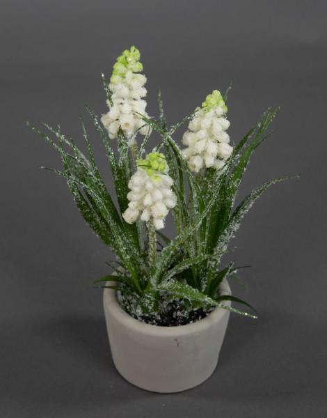 Hyazinthe 20cm geeist im Steintopf GA Kunstblumen Kunstpflanzen künstliche Blumen