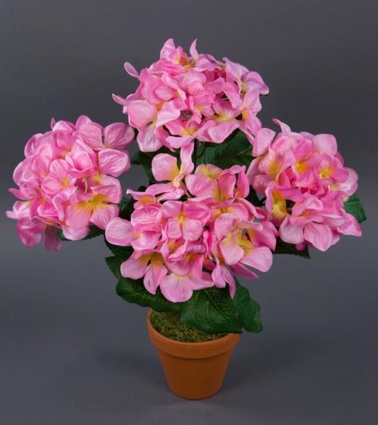 Hortensienbusch groß 42cm rosa im Topf LM Kunstpflanzen Kunstblumen künstliche Hortensie Pflanze