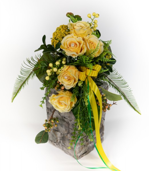 Brautstrauß / Rosenstrauß 60cm/35cm x 32cm gelb Kunstblumen künstlicher handgebundener Strauß
