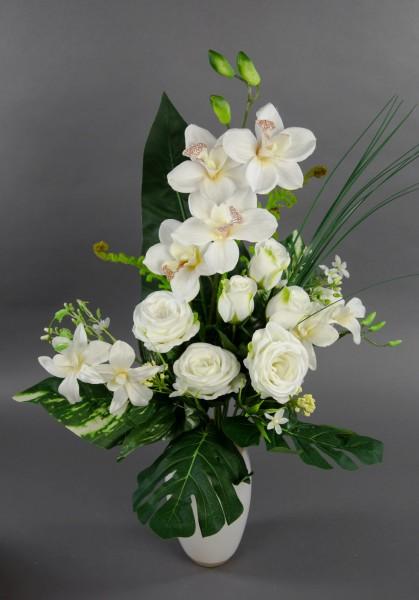 Orchideen Rosenstrauß 60x42cm fuchsia-weiß LM Kunstblumen künstlicher Strauß