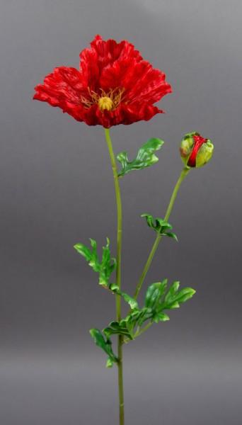 Mohnzweig 64cm rot AR Kunstblumen künstliche Blumen künstlicher Mohn Seidenblumen