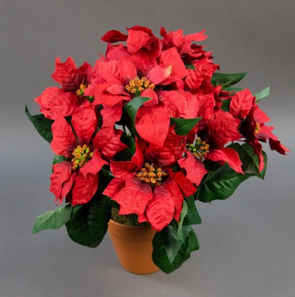 Großer Weihnachtsstern im Topf 38cm rot PF künstlicher Weihnachtsstern Kunstblumen Kunstpflanzen
