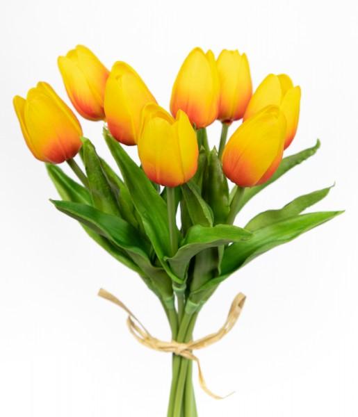 Tulpenbund mit 8 Tulpen PU Real Touch 34cm orange ZF Kunstblumen künstliche Blumen