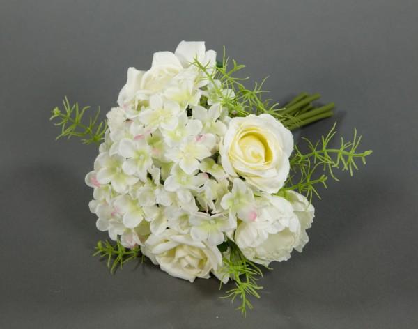 Rosen- Hortensienbouquet 24cm weiß-creme DP Kunstblumen künstlicher Strauß Rosen Rosenstrauß
