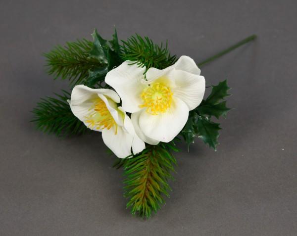Christrosen- Tannenpick 22cm weiß PM künstliche Tanne Christrose Blumen Kunstblumen Tannenzweig