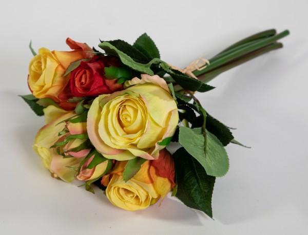 Rosenbund / Rosenstrauß 28cm gelb-orange AD Kunstblumen künstliche Rosen Blumen Strauß