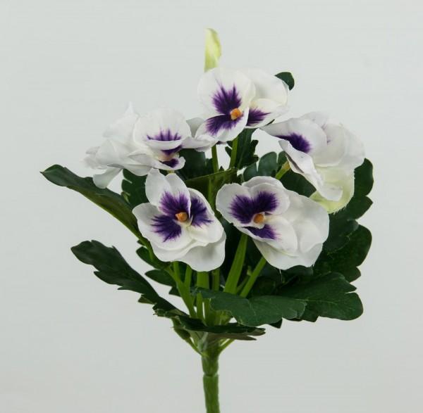 Stiefmütterchen 22cm weiß-lila LM Kunstblumen Seidenblumen künstliche Blumen
