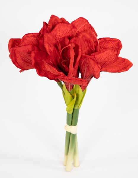 Amaryllisbund 35cm rot GA Kunstpflanzen künstliche Amaryllis Blumen Ritterstern