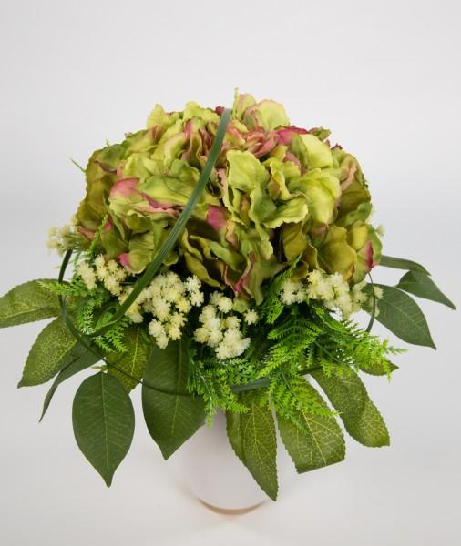 Hortensienstrauß 34x26cm grün Kunstblumen künstlicher handgebundener Strauß Blumenstrauß