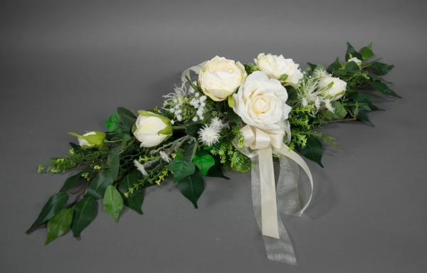 Rosengesteck länglich 90x30cm creme-weiß Kunstblumen künstliche Blumen künstliches Tischgesteck
