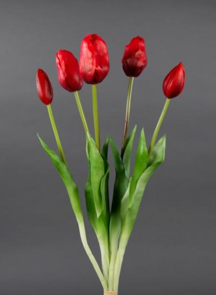 Tulpenbund Real Touch 45cm rot GA Kunstblumen künstliche Blumen Tulpen