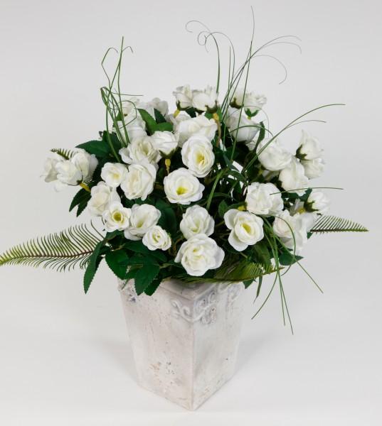 Rosenstrauß 36x30cm weiß Kunstblumen Seidenblumen künstliche Blumen Blumenstrauß Strauß