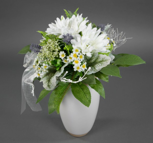 Gerberastrauß 32x28cm weiß Kunstblumen künstliche Blumen künstlicher Strauß Blumenstrauß