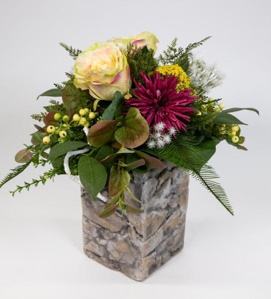 Rosen- Chrysanthemenstrauß 40x28cm gelb-fuchsia Kunstblumen künstliche Blumen Blumenstrauß Strauß