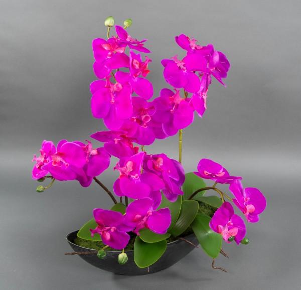 Orchideen-Arrangement 56x45cm fuchsia-pink in schwarzer Dekoschale GA künstliche Orchideen Kunstblum