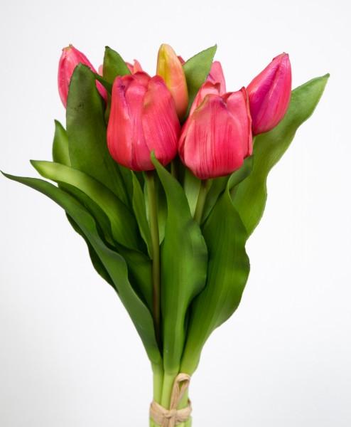 Tulpenbund Nature Real Touch 32x24cm rosa-pink LM Kunstblumen künstliche Blumen Tulpen Latex