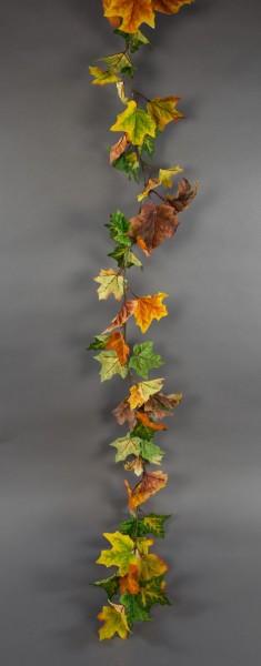 Ahorngirlande 180cm gelb-orange-grün PM Kunstpflanzen künstlicher Ahorn Herbstgirlande