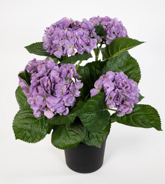 Hortensienbusch Deluxe 42cm lila im Topf LM Kunstpflanzen Kunstblumen künstliche Hortensie Pflanzen