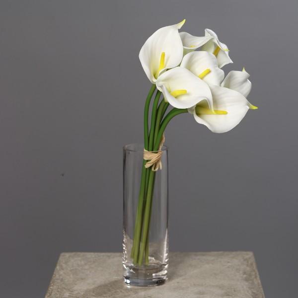 7 Stück Calla Real Touch 34cm weiß DP Kunstblumen künstliche Blumen Kalla