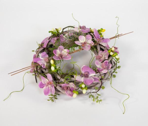Orchideenkranz 28cm fuchsia-creme künstlicher Kranz künstliche Orchideen Türkranz