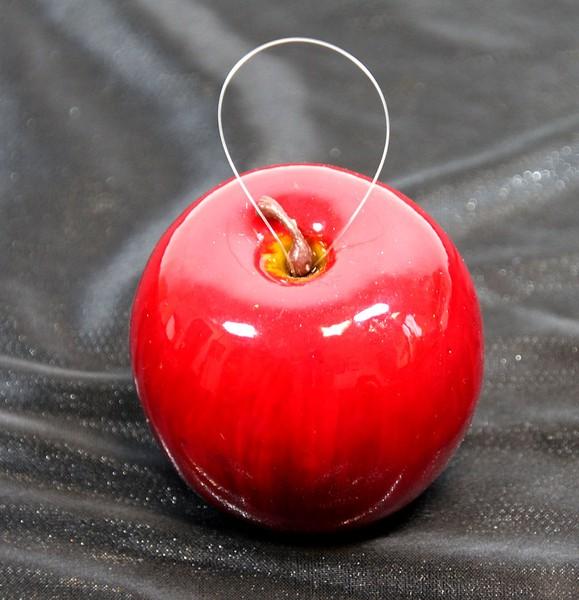 Lackapfel 7,5cm rot mit Aufhänger DP künstlicher Apfel