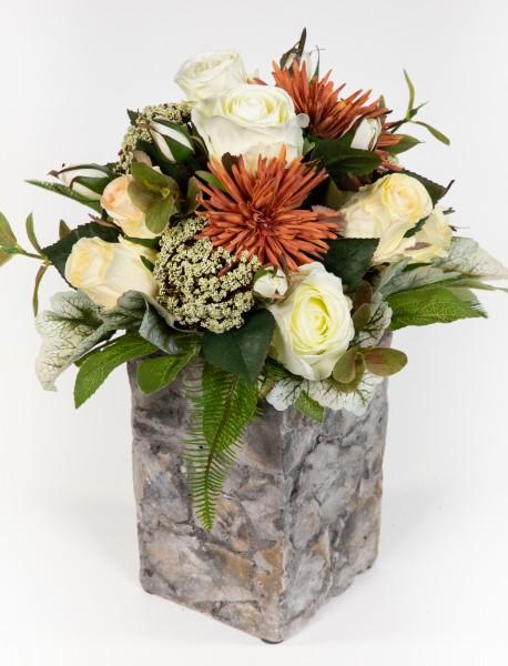 Strauß Amsterdam Exklusiv 32x28cm weiß-creme mit 16 Rosen Kunstblumen künstlicher Blumenstrauß