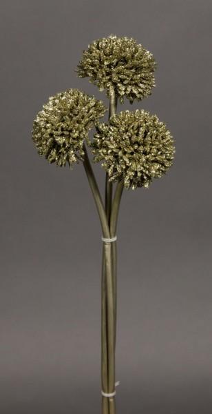 3 Stück Mini-Allium 30cm gold DP Kunstzweig künstlicher Zweig künstliches Allium