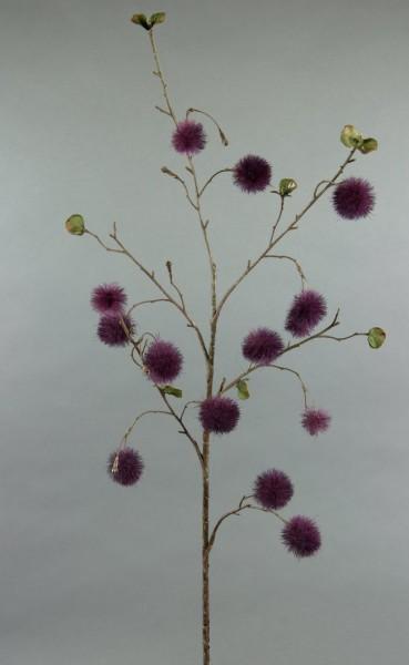 Pompomzweig 78cm dunkel-lila AR Kunstzweig künstlicher Zweig Kunstblumen Kunstpflanzen