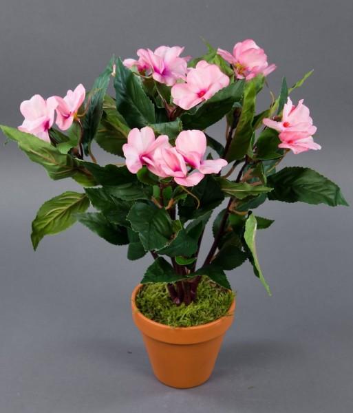 Impatiens / Fleißiges Lieschen 38cm rosa im Topf LM künstliche Blumen Kunstpflanzen Kunstblumen