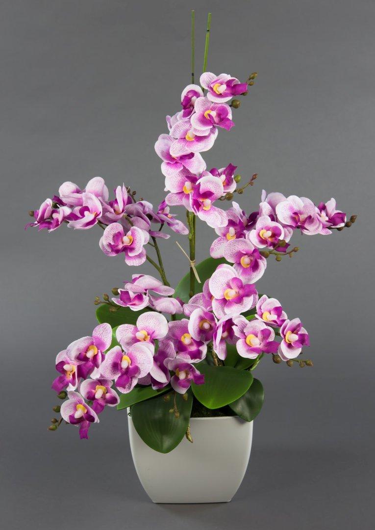 Orchideen arrangement rosa pink im wei en dekotopf ja kunstblumen k nstliche orchidee - Orchideen arrangement ...